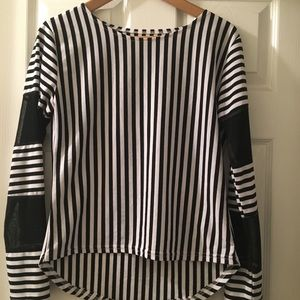 Black and White Stripe Shirt with Sheer Sleeves